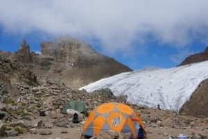 Austrian Hut Camp - with Lewies Glacier