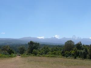 Team (on left) heading up Mount Kenya