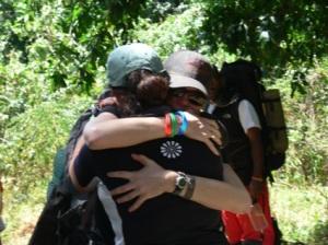 Leah hugs Yvette